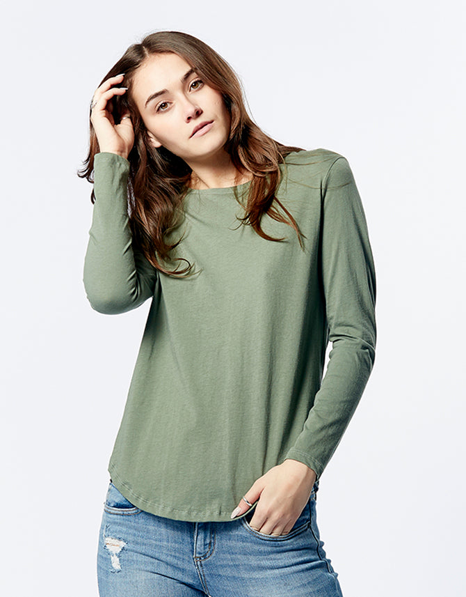 Long Sleeve Saddle Hem Tee Khaki, Shirt, Casa Amuk - Mika and Max