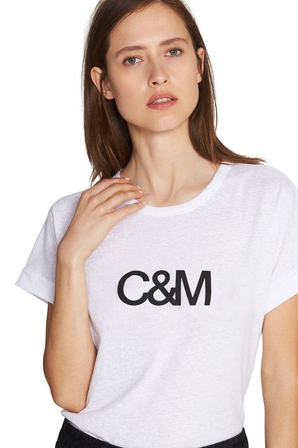 C&M huntington logo tee white, camilla and marc