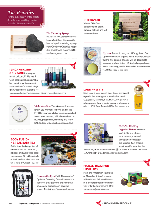Lurk featured in Organic Spa December 2015
