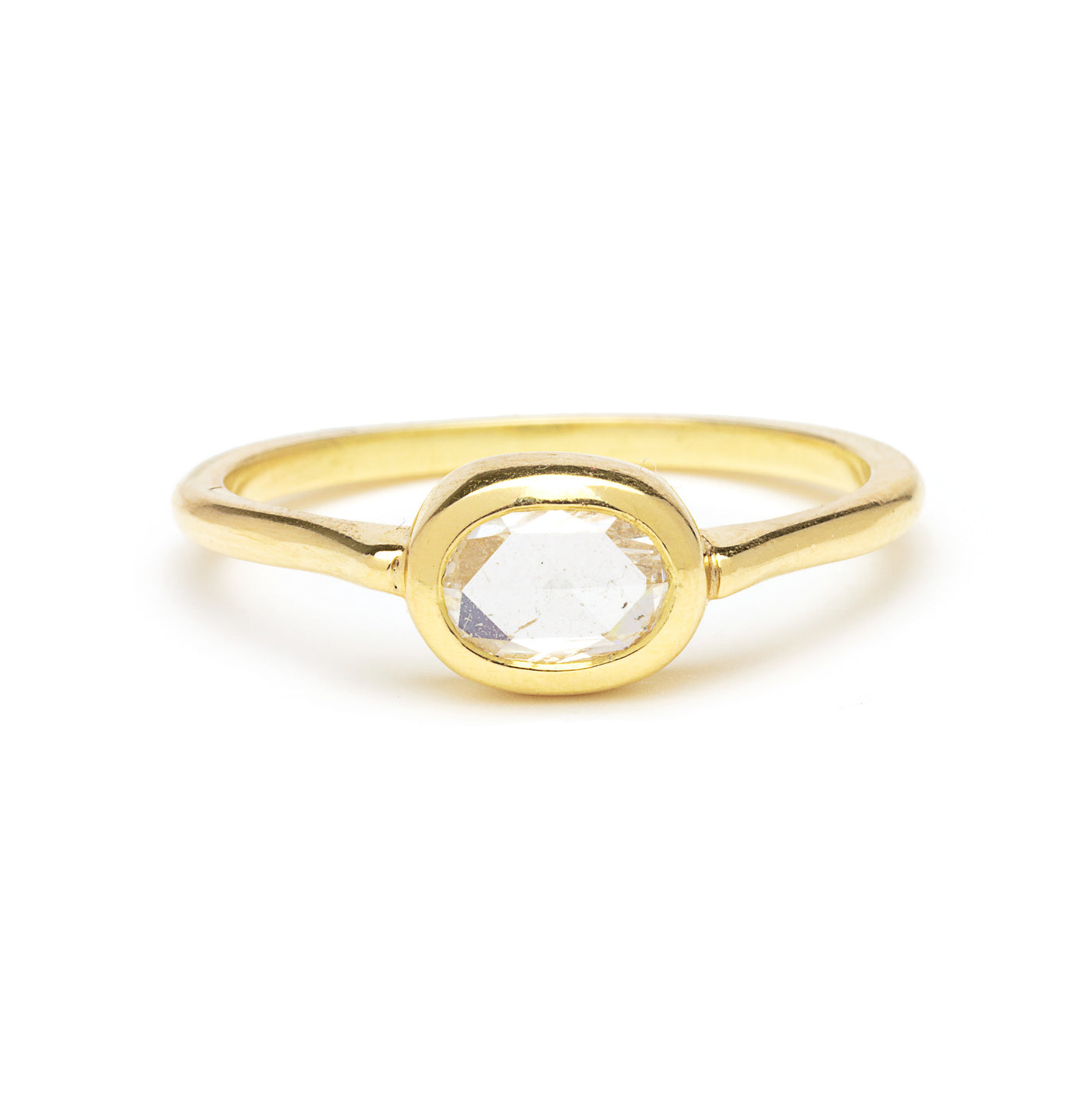 oval rose cut cathedral ring