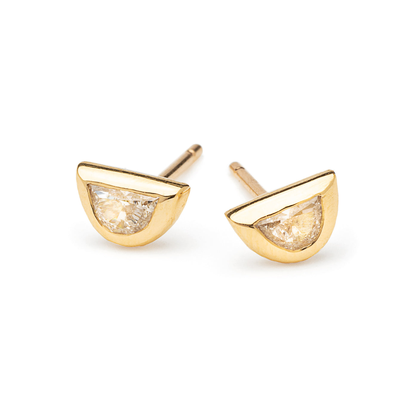 halfmoon diamond and gold studs