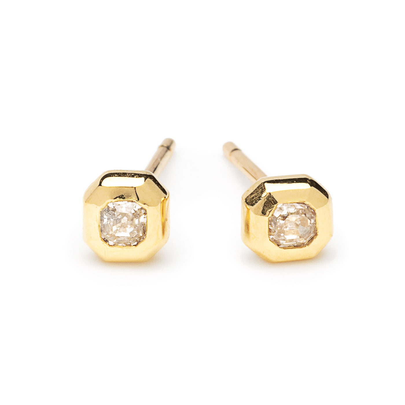 tiny cushion cut diamond studs