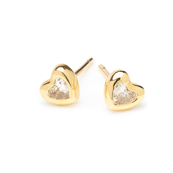 heart shaped diamond and gold studs