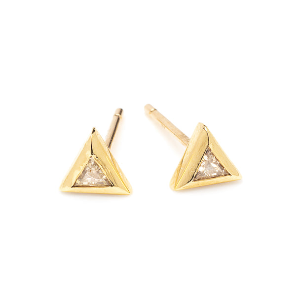 trillion diamond and gold studs