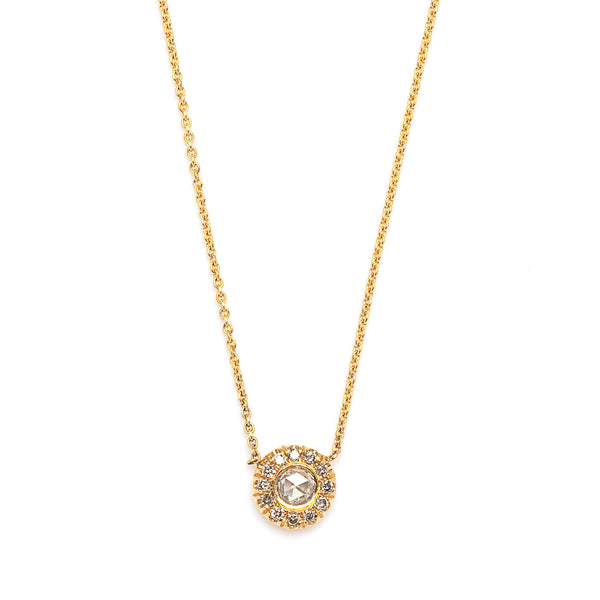champagne rose cut with halo necklace