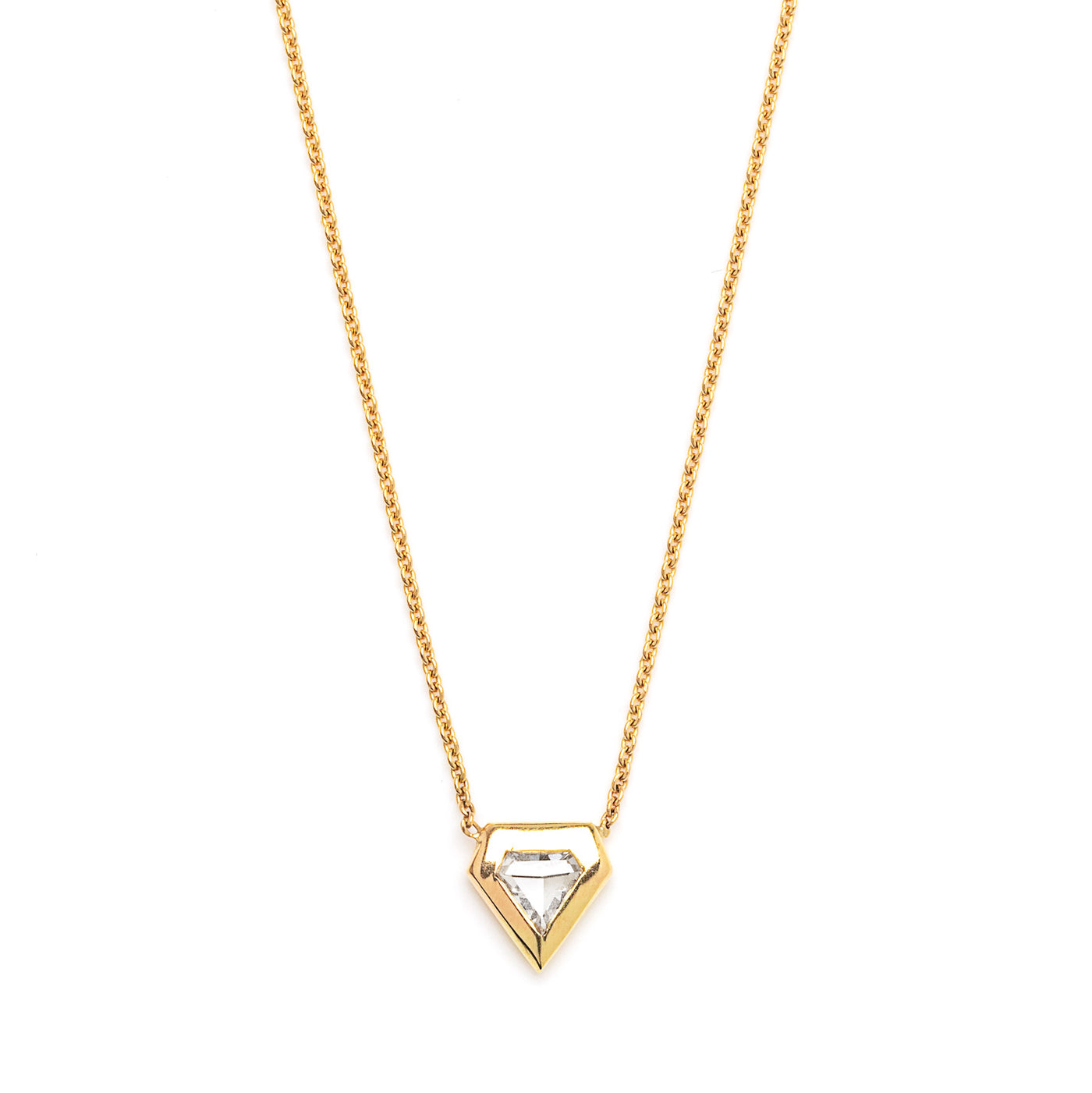 rose cut shield diamond necklace