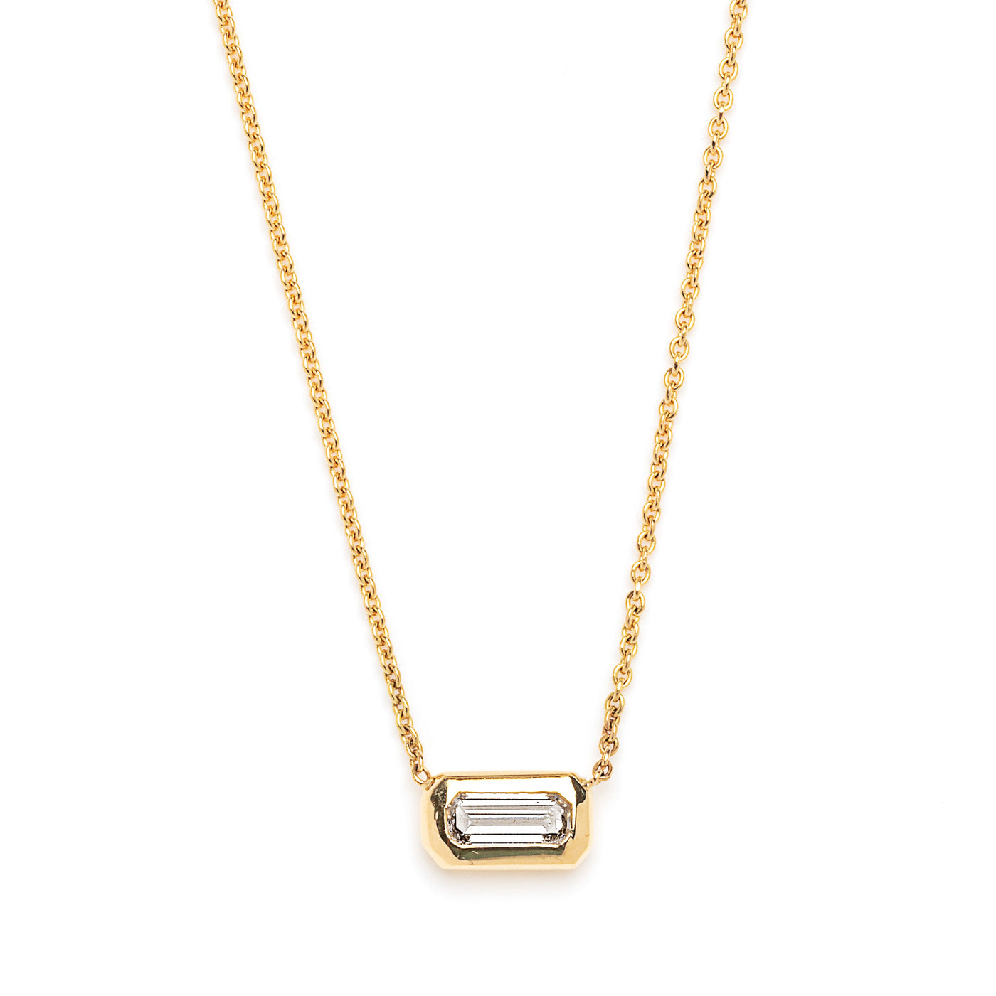 elongated emerald cut diamond necklace