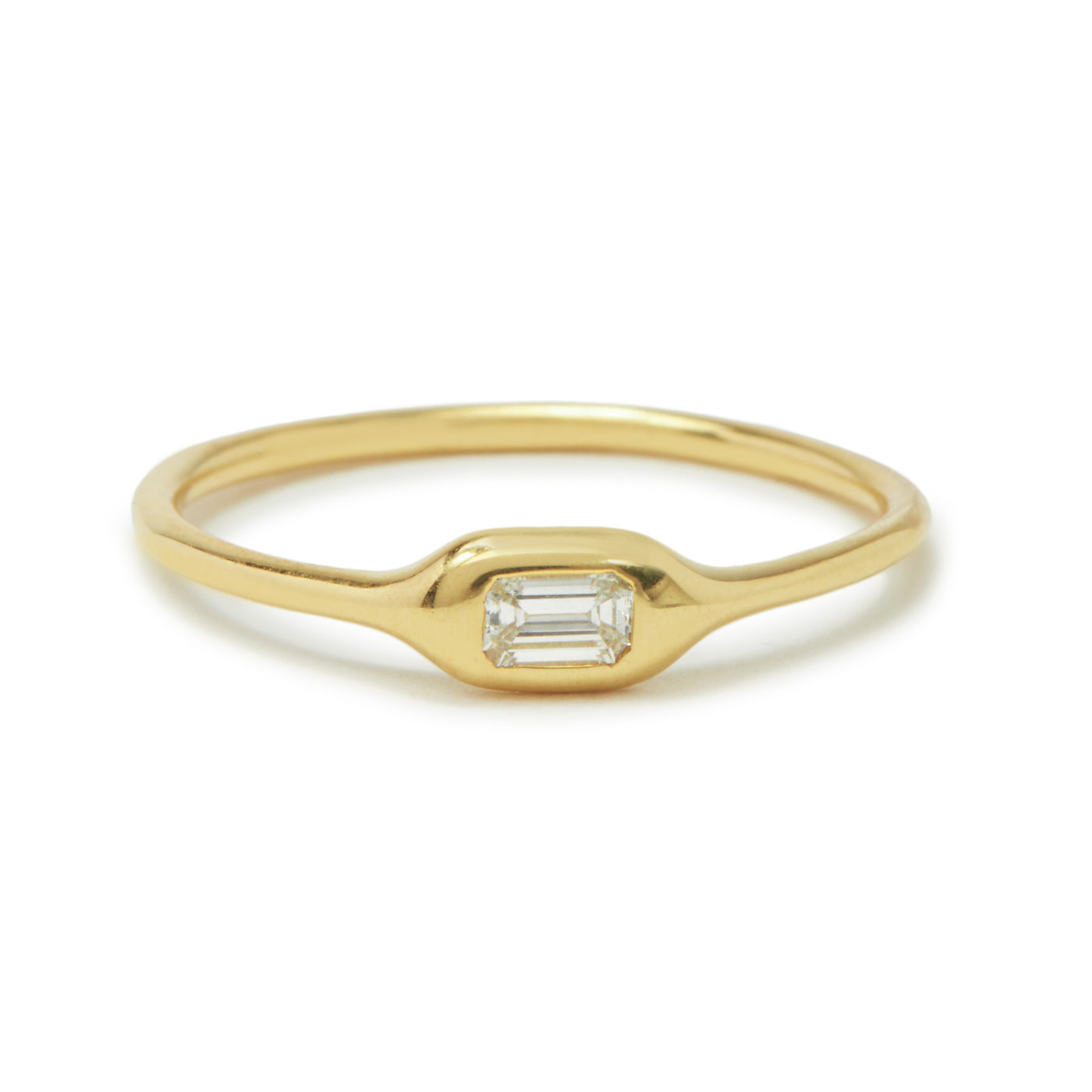 mini diamond shape ring - emerald cut