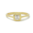 ascher cut diamond set in gold bezel