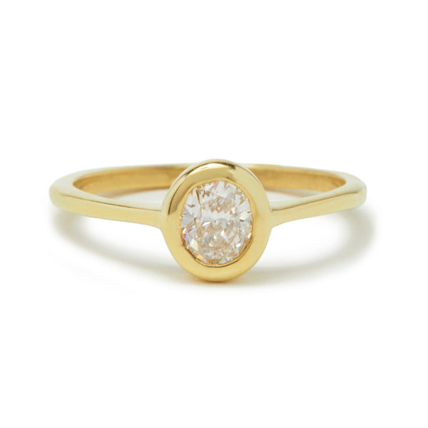 oval diamond cathedral ring