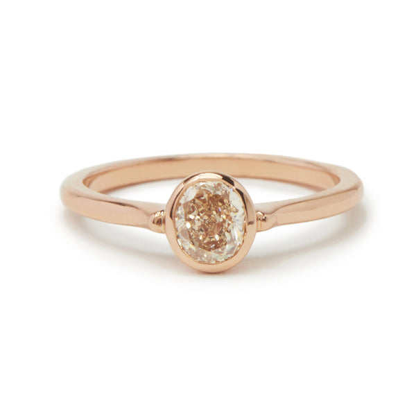 oval pink champagne cathedral ring