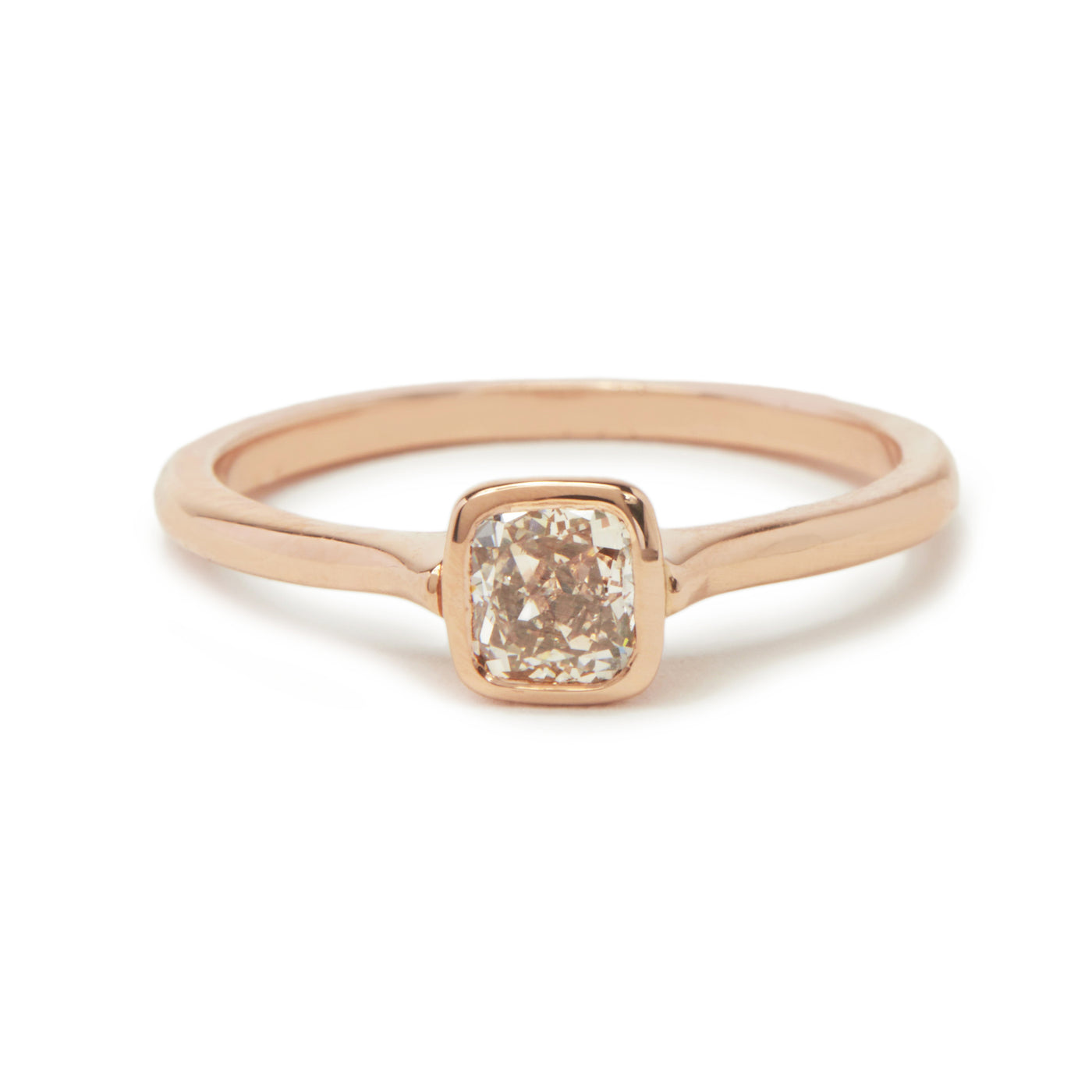 cushion pink champagne cathedral ring