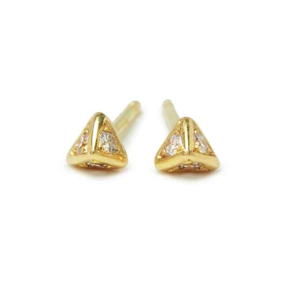 tiny pyramid studs with diamonds