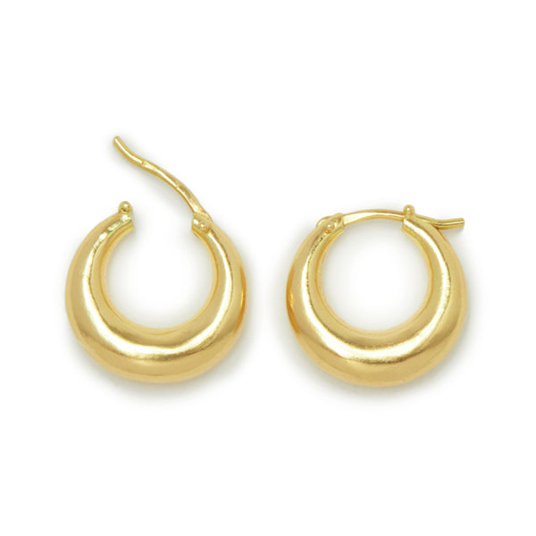 gold huggie hoops crescent shape