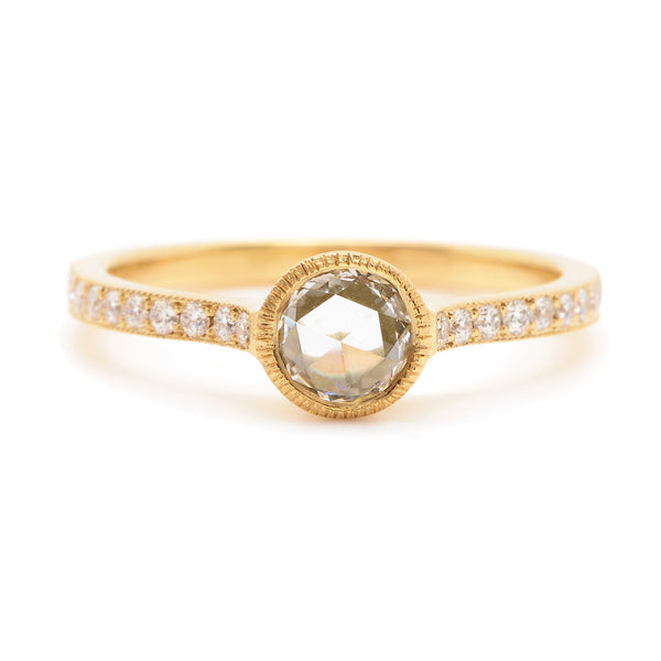 diamond cathedral ring with pavé band