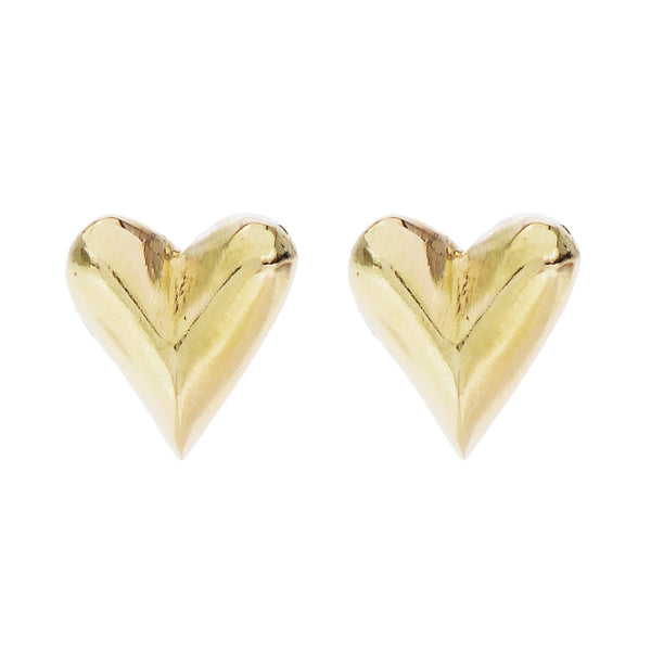 carved heart studs