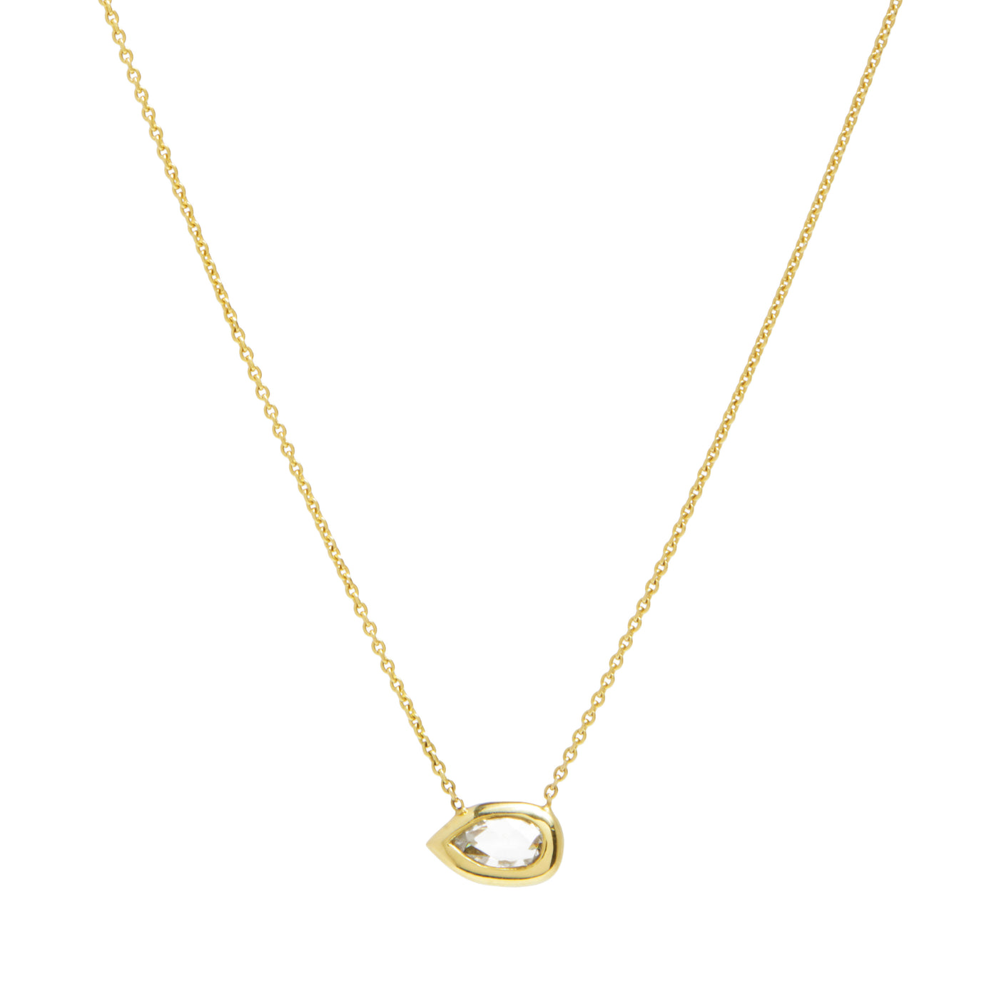 rose cut pear diamond shape necklace