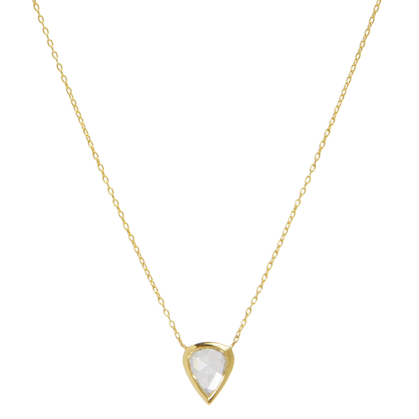 pear rose cut diamond necklace