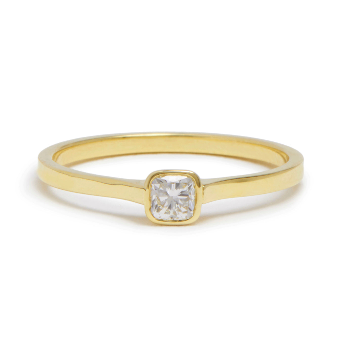 cushion cut cathedral ring