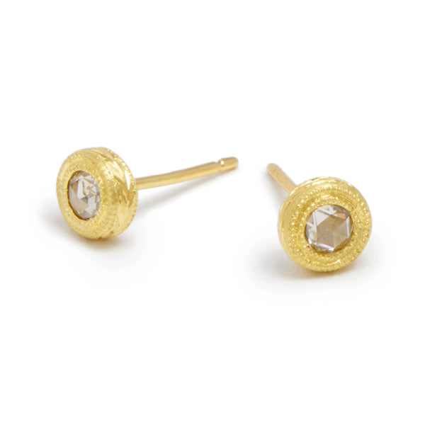champagne rose cut diamond essential studs