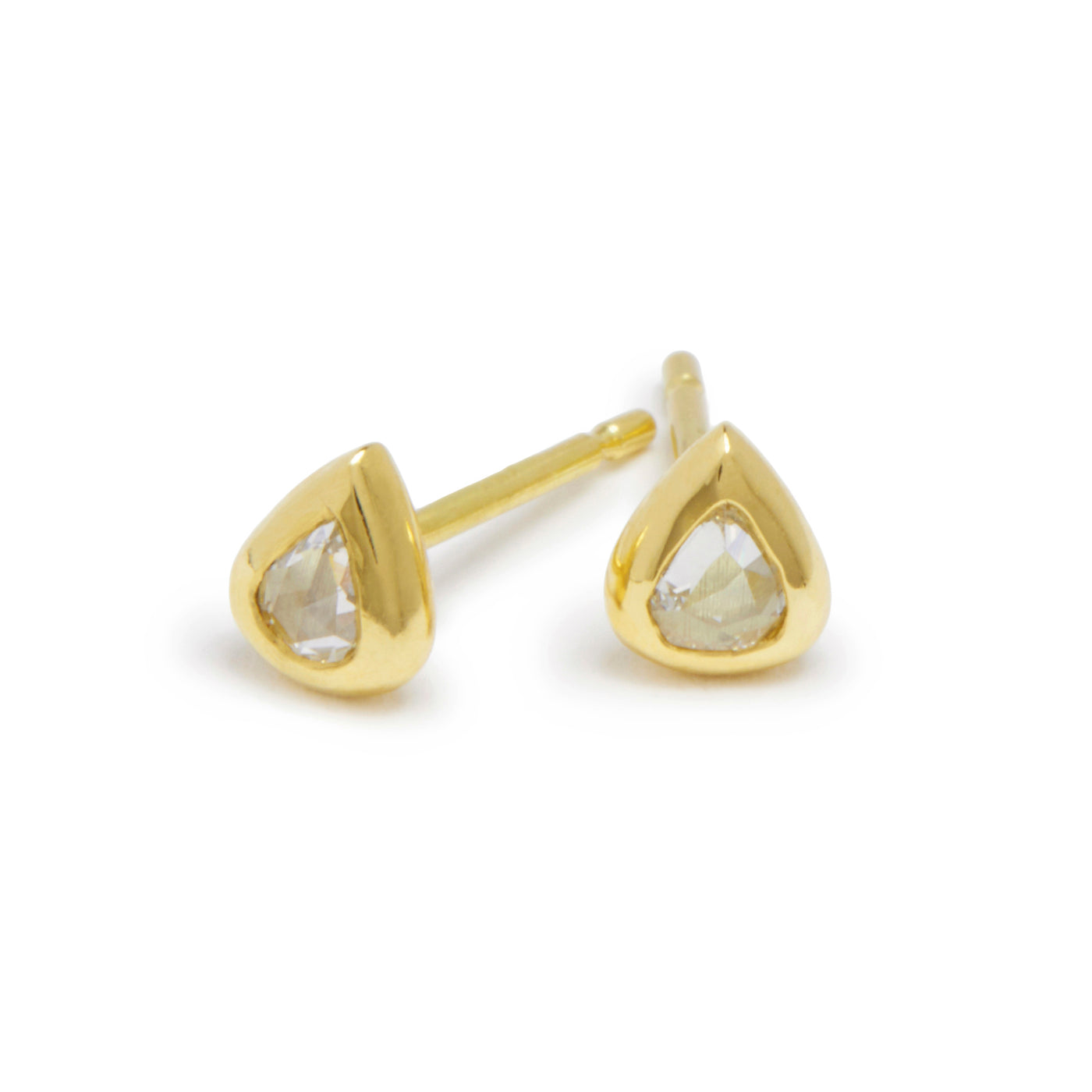 tiny rose cut pear diamond studs
