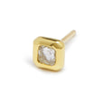 tiny square diamond stud single
