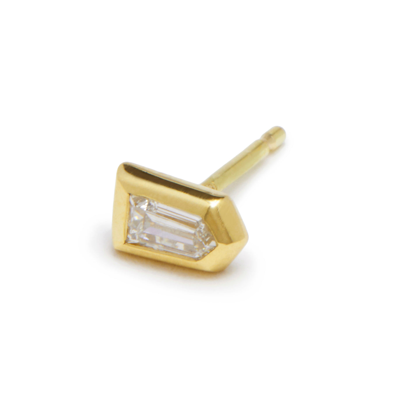 tiny bullet diamond stud single