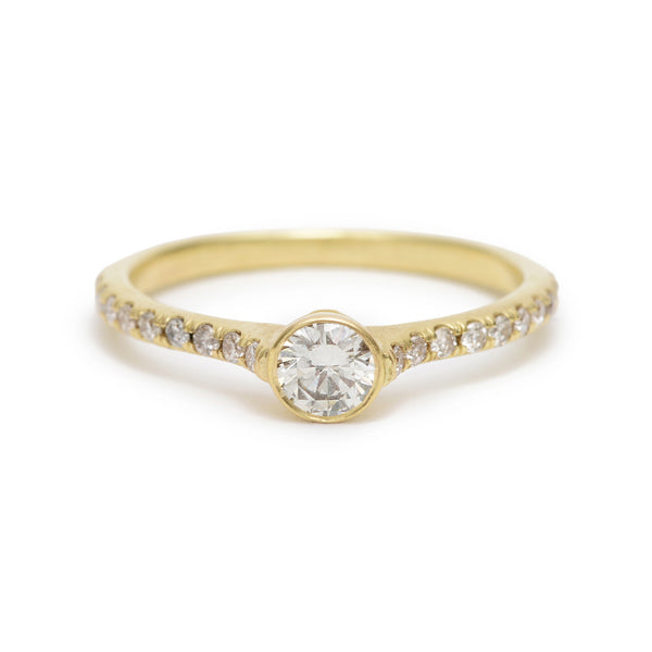 cathedral ring with pave band