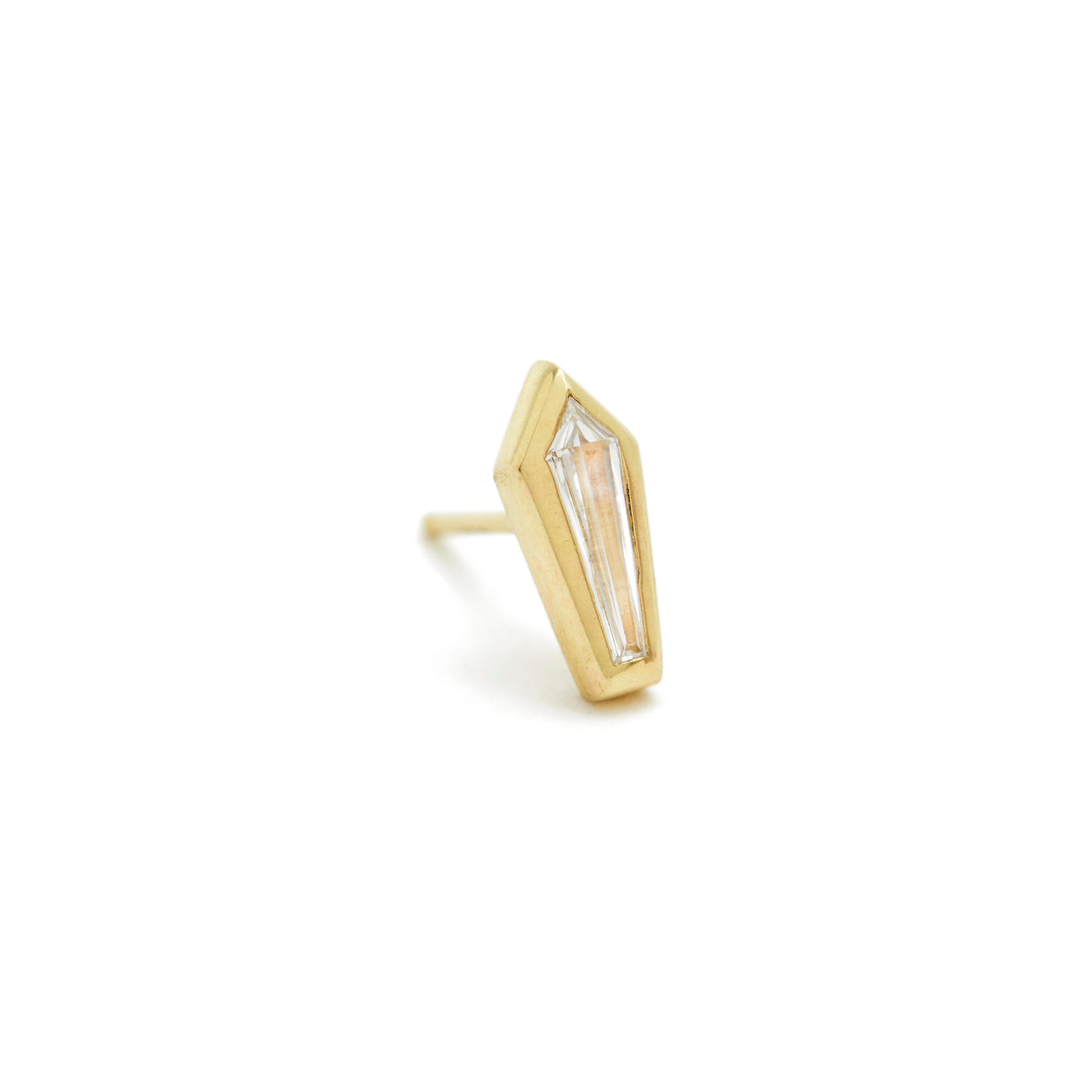 coffin shaped diamond essential stud