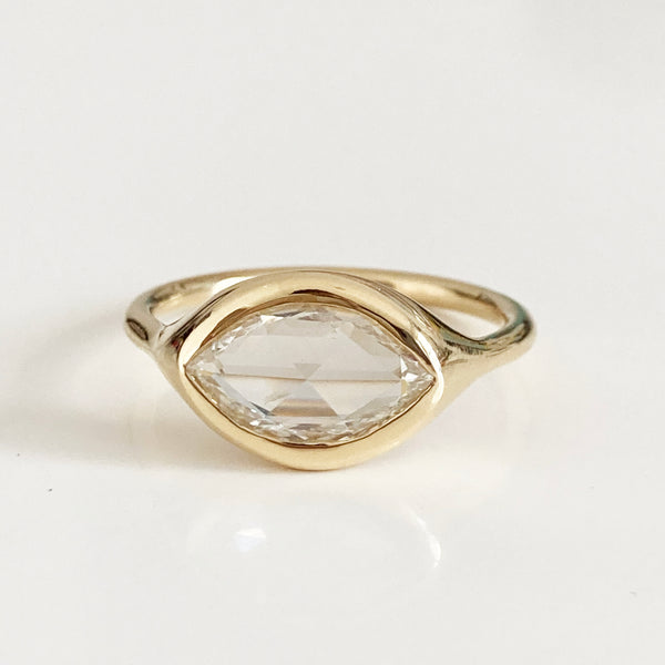 carved ring - marquise rose cut