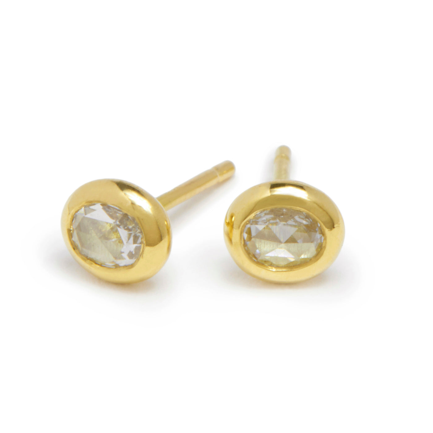 tiny oval rose cut diamond studs