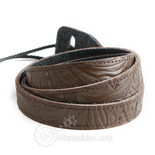 Embossed Leather Mandolin Strap