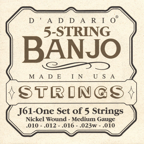 DAddario Banjo Strings Nickel Wound Medium
