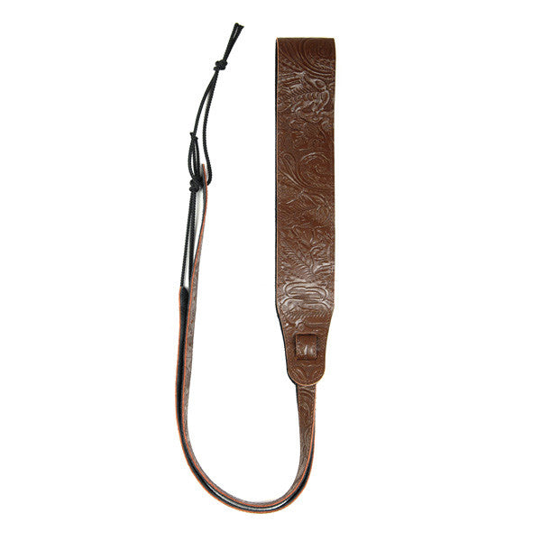 Leather Banjo Cradle Strap Embossed