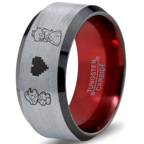 Mario and Peach Silver Black Bevel Tungsten Ring with Red Interior