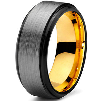 8mm Yellow Gold Tungsten Beveled Silver Pipe Cut