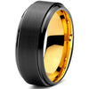 8mm Yellow Gold Tungsten Beveled Step Edge Black Pipe Cut - Zealot