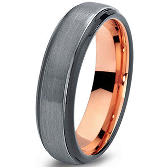6mm Brushed Silver Black Step Edge 18k Rose Gold Tungsten Ring
