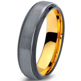 6mm Brushed Silver Black Step Edge 18k Yellow Gold Tungsten Ring