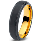 6mm Black Step Edge 18k Yellow Gold Tungsten Ring