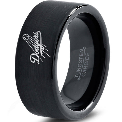 LA Dodgers Baseball Ring Black Tungsten Wedding Band