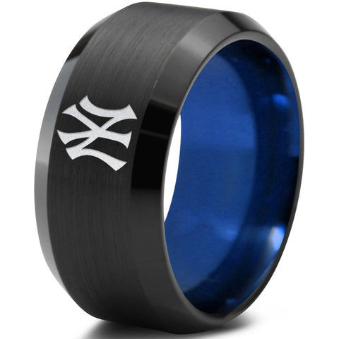 New York Yankees Black Bevel Tungsten Ring with Blue Interior