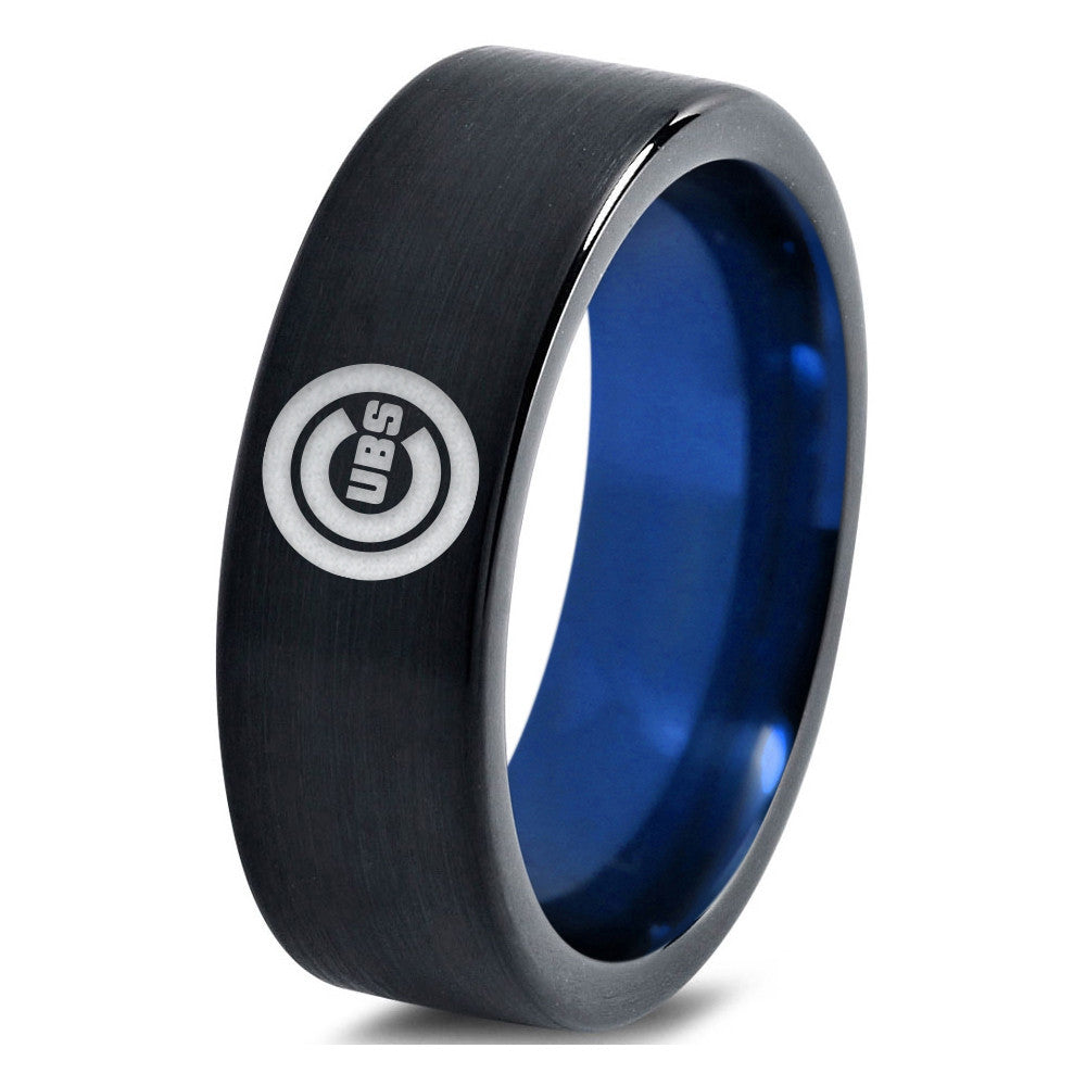 Chicago Cubs Black Tungsten Ring with Blue Interior