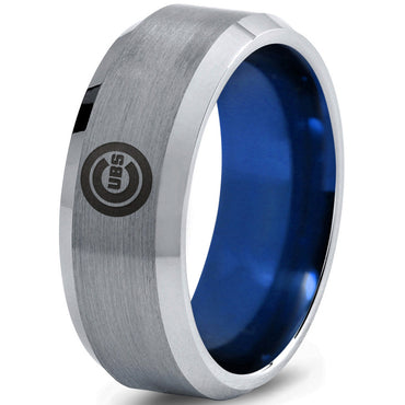 Chicago Cubs Silver Brushed Beveled Ring with Blue Interior