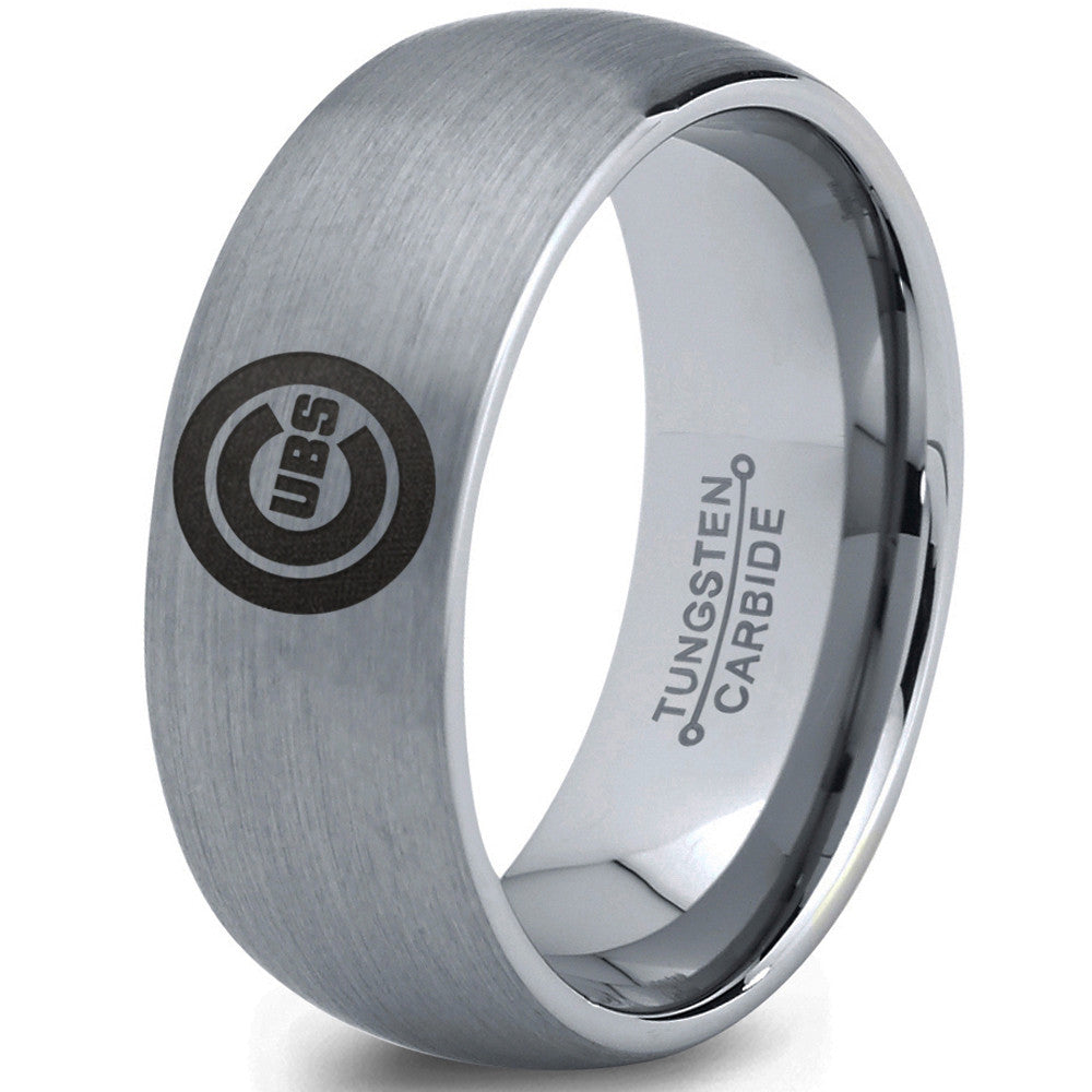 Chicago Cubs Wedding Band Ring Tungsten Silver Domed Baseball Zealot