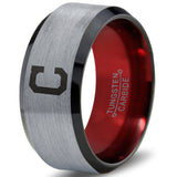 Cleveland Indians Silver Bevel Tungsten Ring with Red Interior