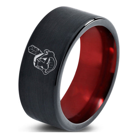 Cleveland Indians Flat Cut Black Tungsten Ring with Red Interior