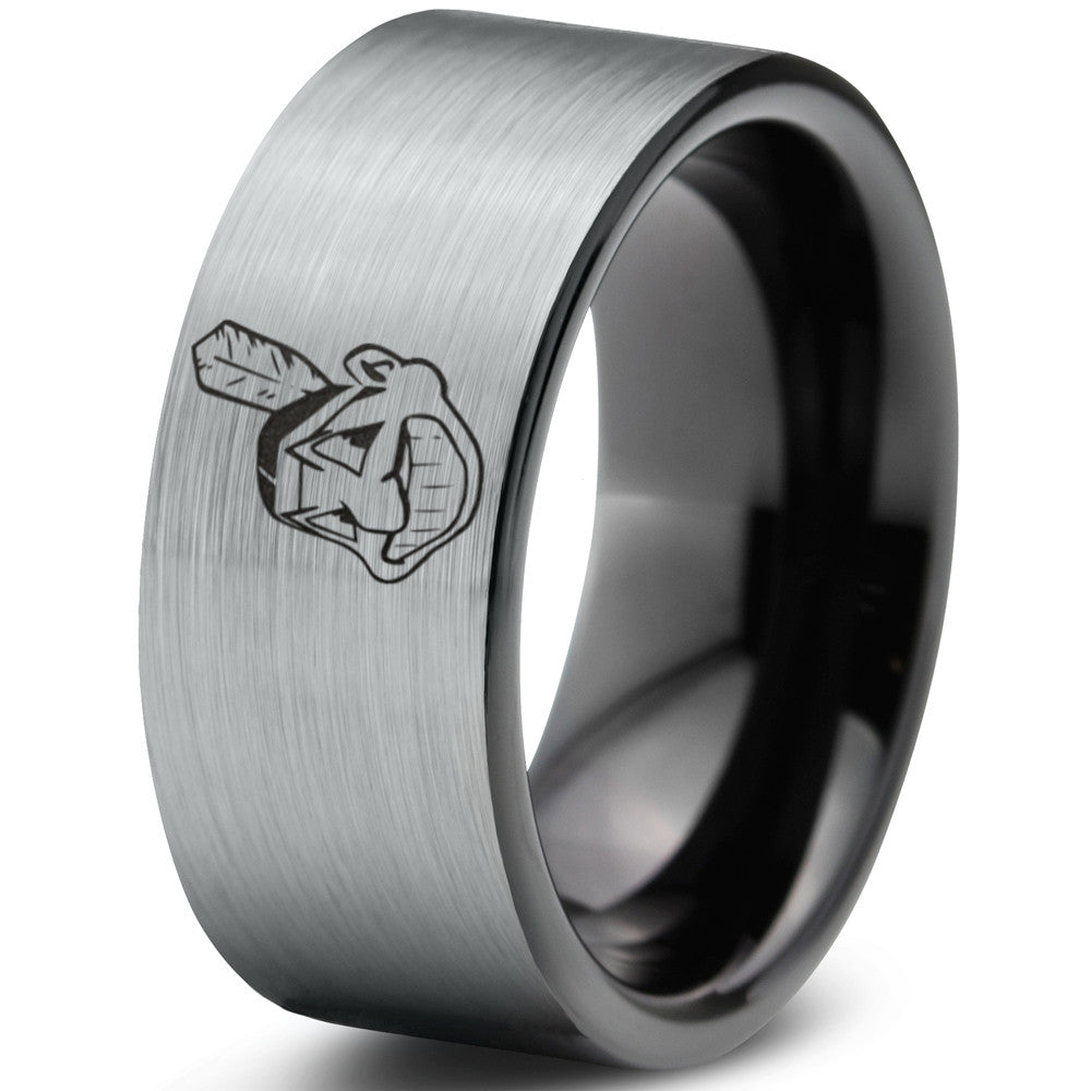 Cleveland Indians Silver Brushed Flat Cut Tungsten Ring
