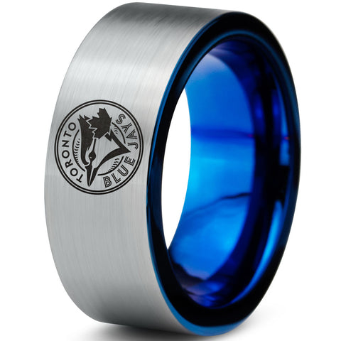 Toronto Blue Jays Silver Tungsten Ring with Blue Interior