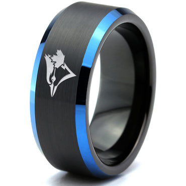 Toronto Blue Jays Black Tungsten Ring with Blue Bevels